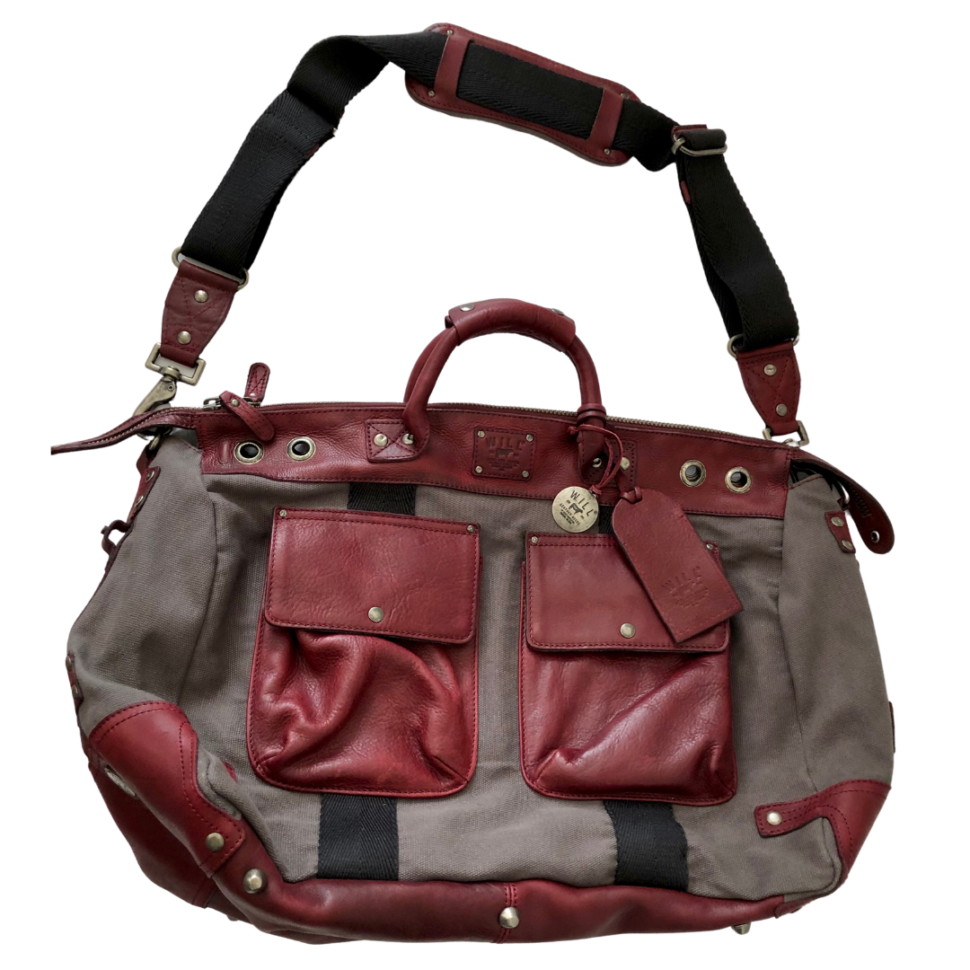 Will Leather Goods Canvas and Leather Traveler Duffle Bag
