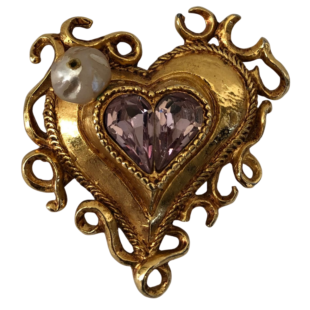 Vintage Christian Lacroix Heart Shaped Brooch