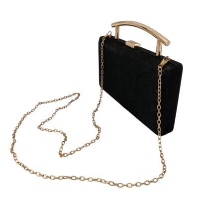 Evening Clutch with Gold Clasp and Handle