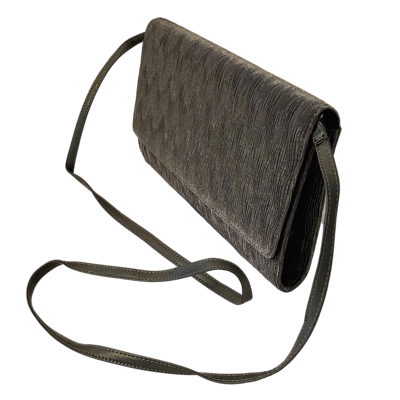 David Tate Silver Grey Sturdy Rouched Clutch with Removable Strap
