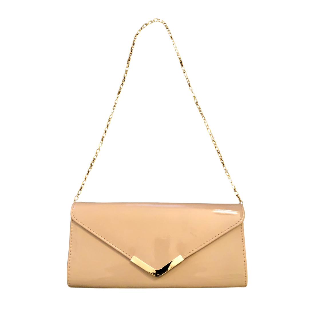 Aldo Patent Leather Blush Clutch with Gold Shoulder Chain