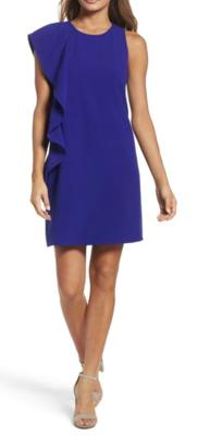 Chelsea28 Asymmetrical Ruffle Shift Dress Women's 14