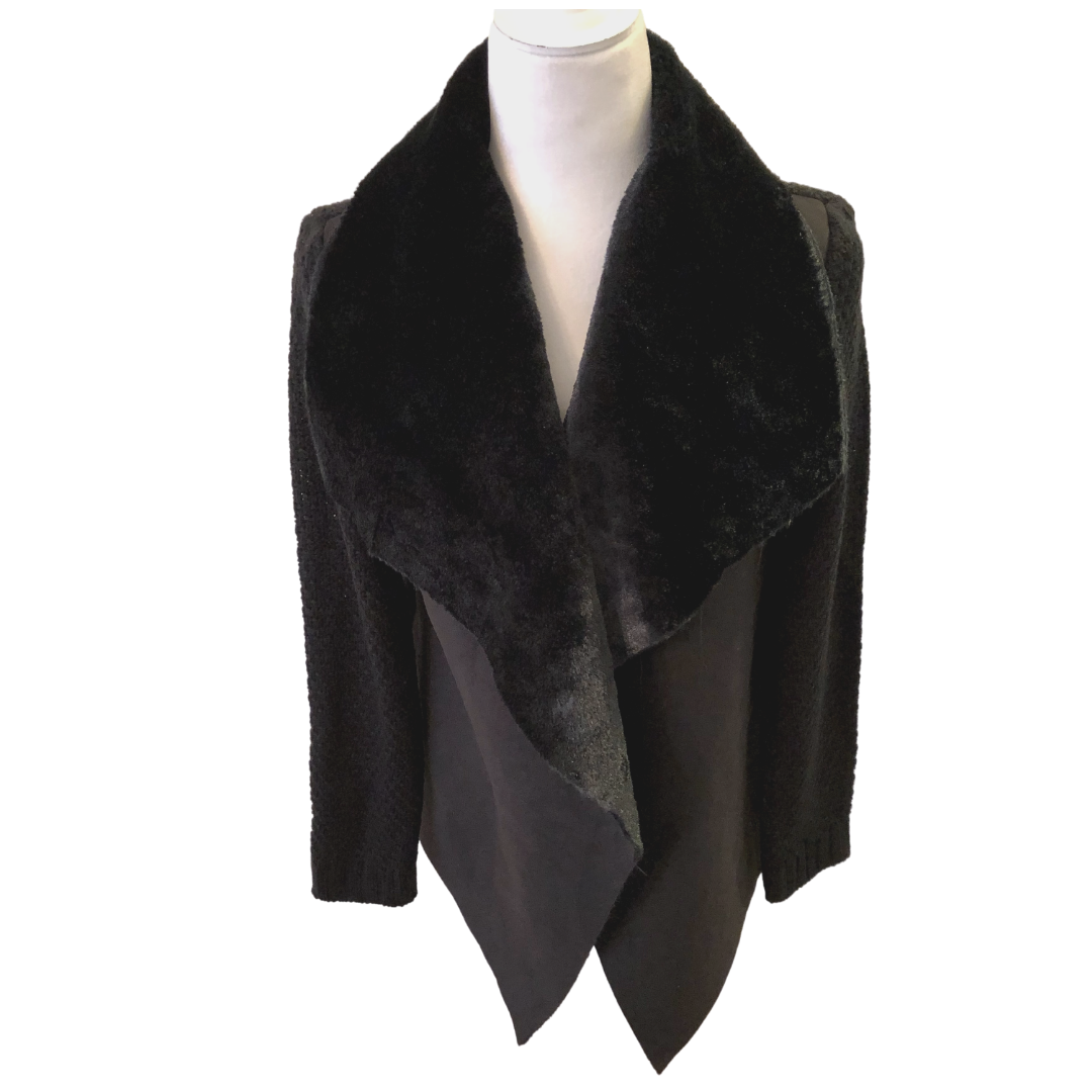 Melissa Paige Waffle Sweater Weave Faux Fur Collar Sweater Coat Women's Small
