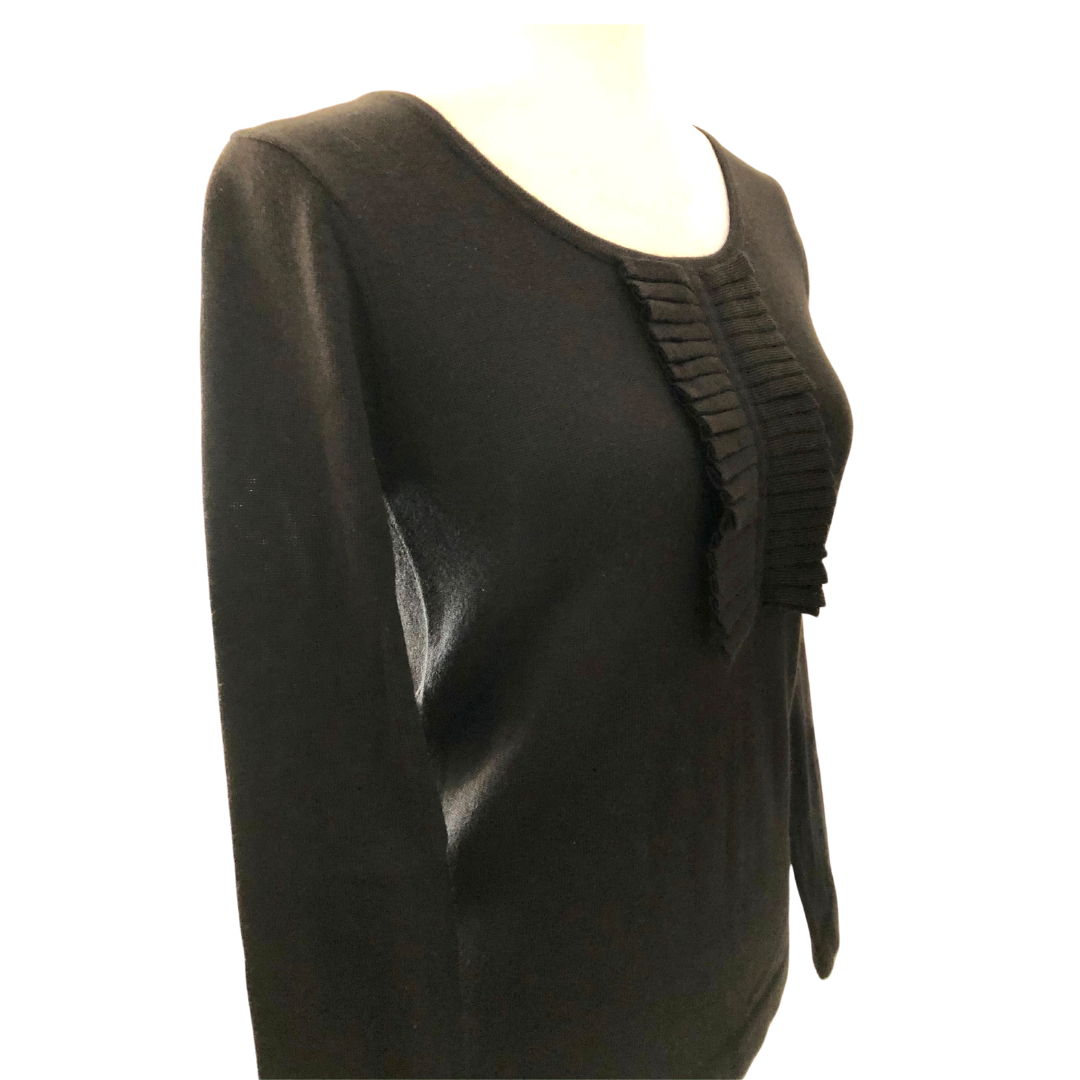 Lacoste Ruffled Front Wool Blend Sweater Women's Small