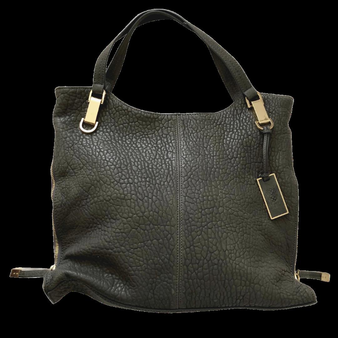 Vince Camuto Soft Genuine Leather Greenish-Grey Riley Handbag with Adjustable Zipper Sides