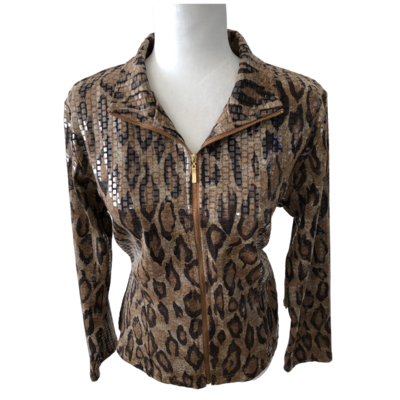 Erin By Erin London Glimmer Animal Print Full-Zip Jacket Women's Petite Medium