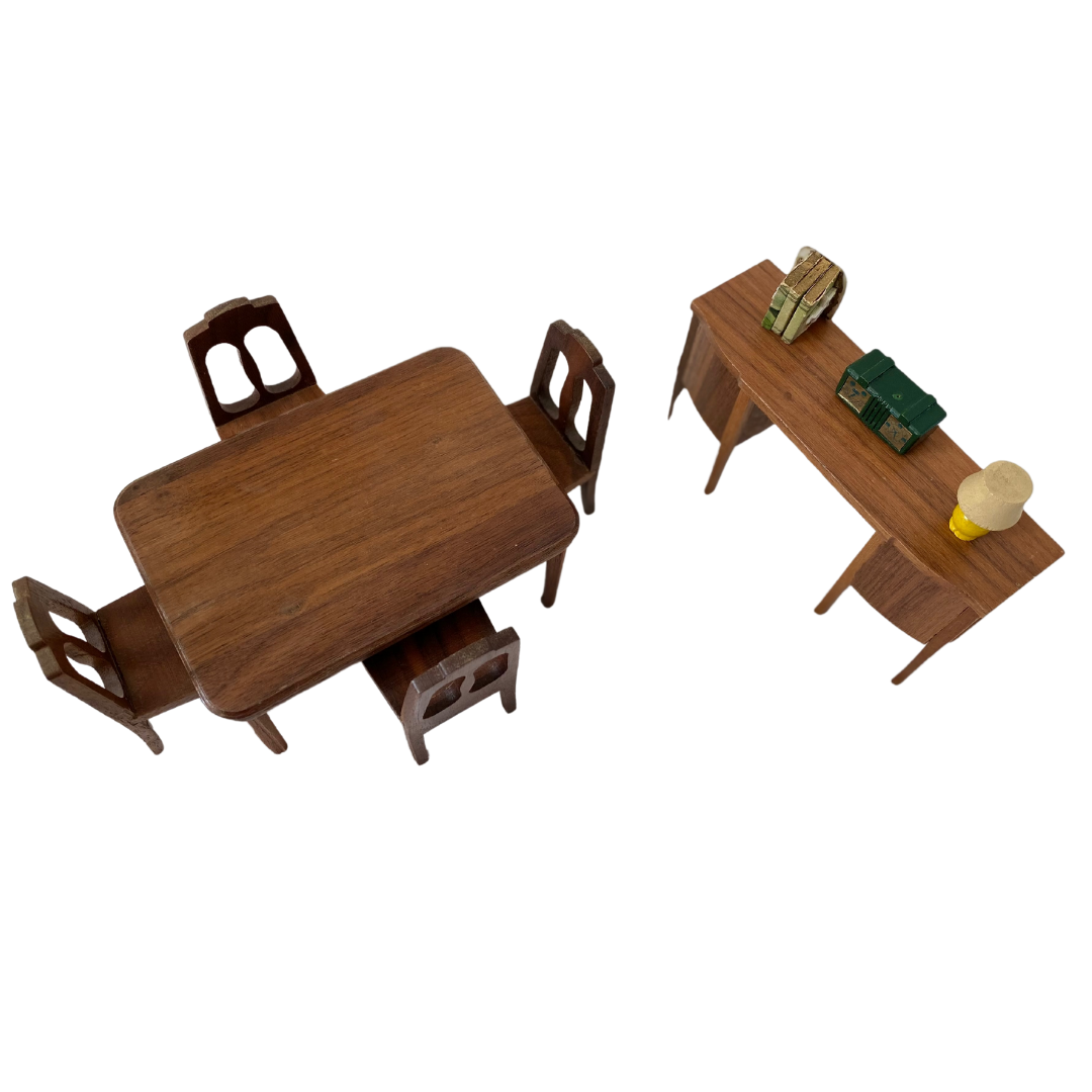 Vintage Strombecker Playthings Walnut Dollhouse Dining Set