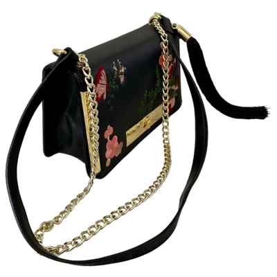 Gianni Bini Turnlock Gold Accent Purse with Floral Stitching and Tassel