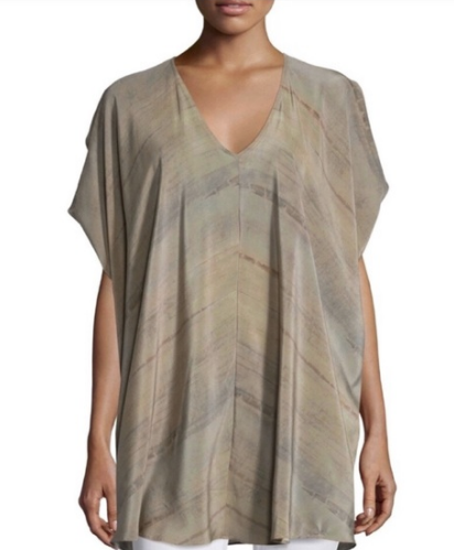 Eileen Fisher Mocha Grove Printed 100% Silk V-Neck Wedge Tunic Women's Large