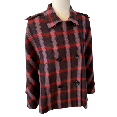 Kate Landry Plaid Cape Women's One Size