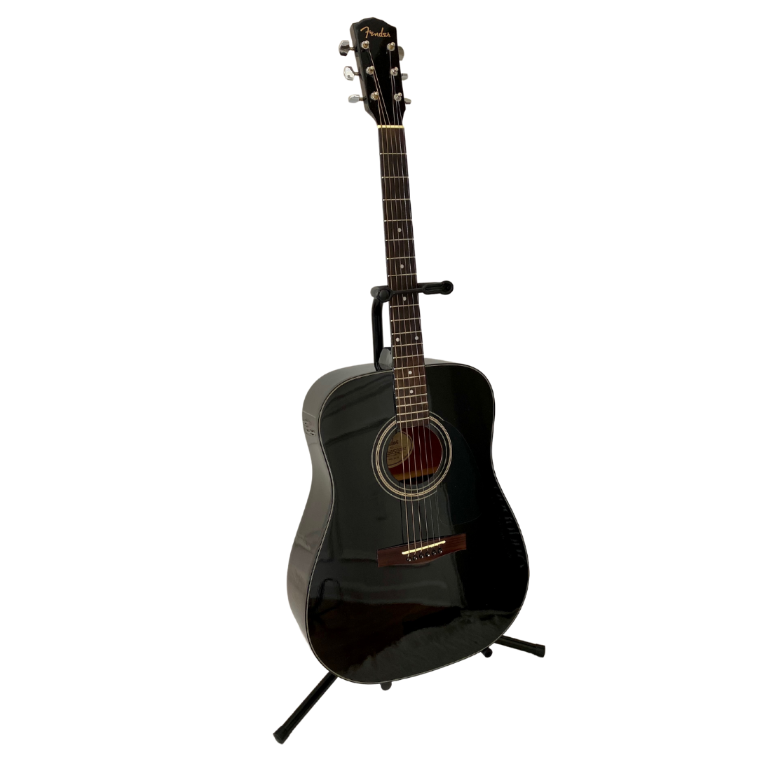 Fender Black Acoustic Guitar Model DG-11 with Stand and Soft Case