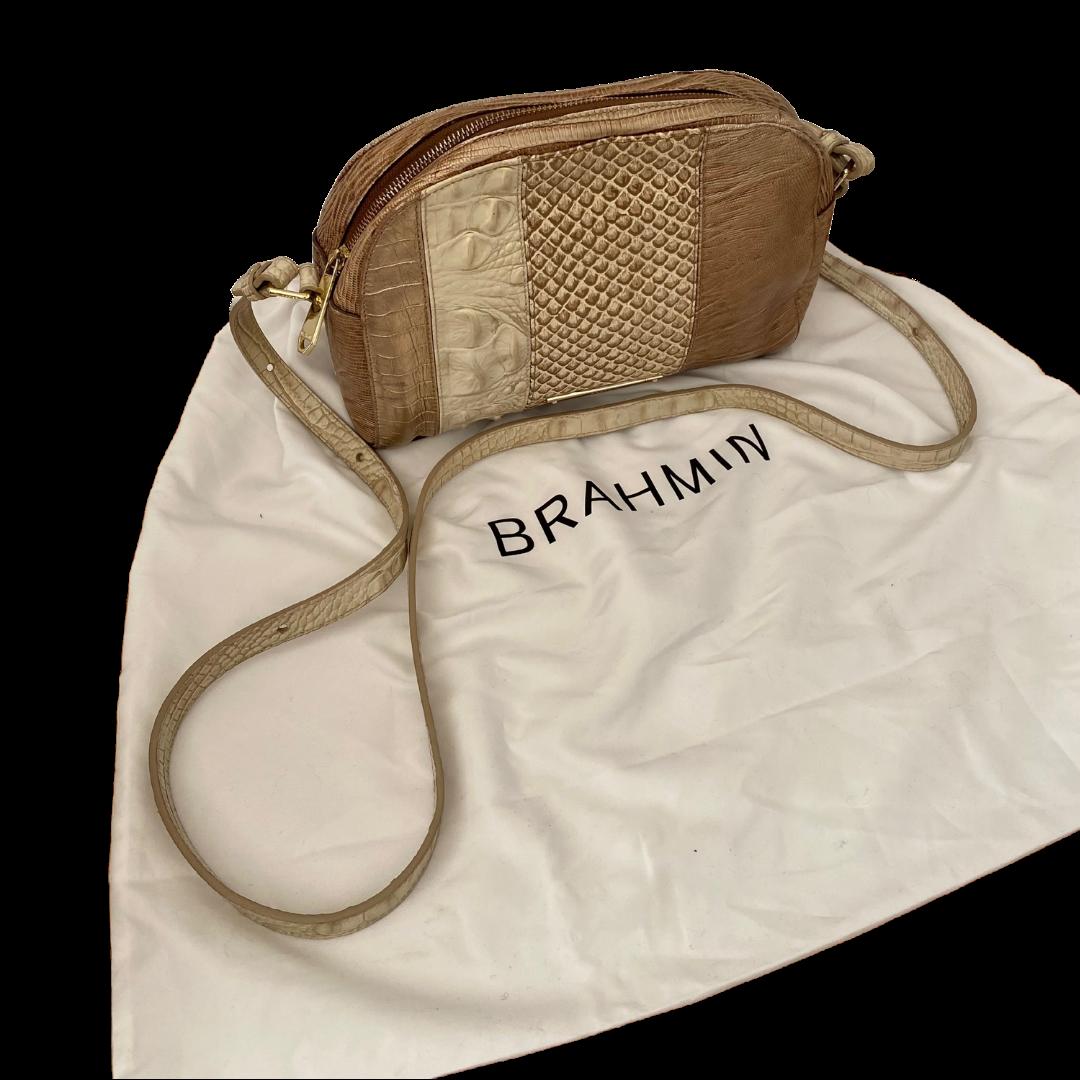 Brahmin Goldtone Reptile Embossed Crossbody Purse