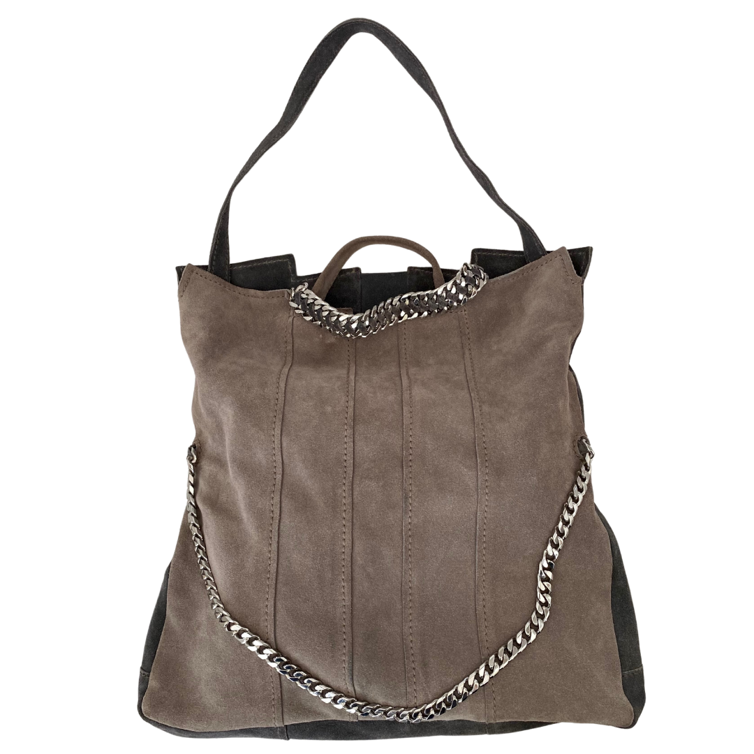 Ramy Brook Two-Tone Suede with Silver Chain Handbag