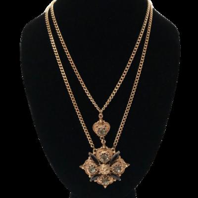 Florenza Double Chain Maltese Cross Pendant Necklace