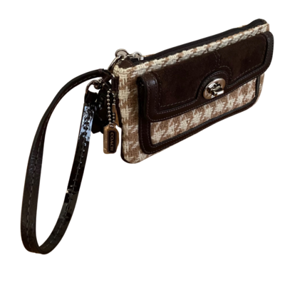 COACH 100% Wool Houndstooth with Suede Flap Turnlock Wristlet