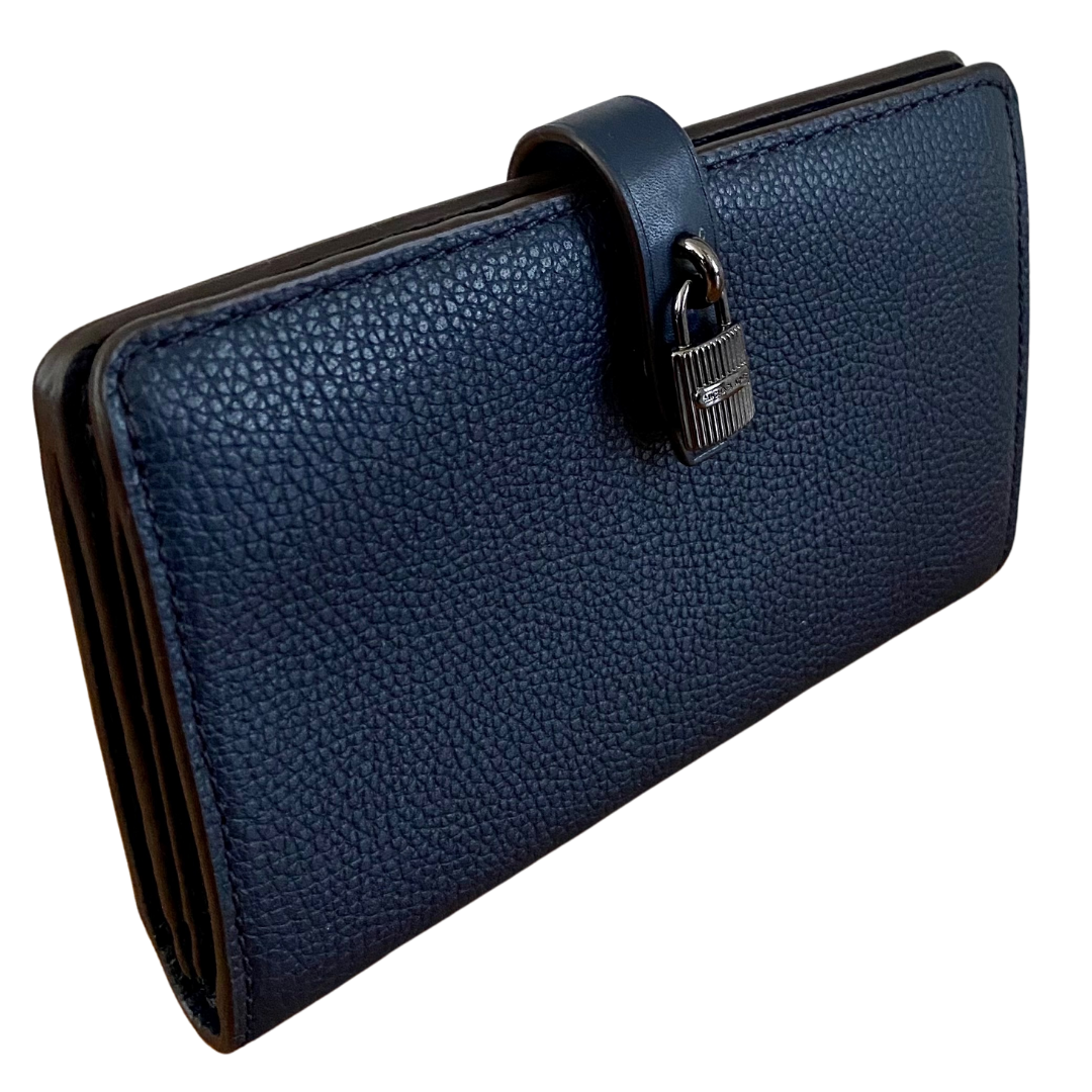Michael Kors Adele Slim Blue Pebble Grain Wallet