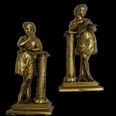 Vintage Brass Statue Set Standing Dancer & Painter with Doric Column