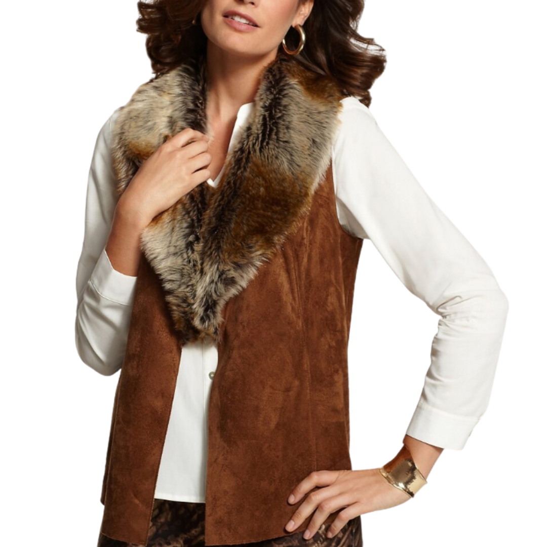 Chico's Faux Fur Collar and Suede Vest Women's 2 (12-14)