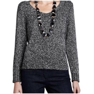 Eileen Fisher Marled V-Neck Sweater 100% Italian Yarn Women's Medium
