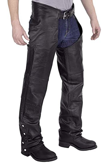Vulcan Motorcycle Gear Leather Chaps Men's Medium