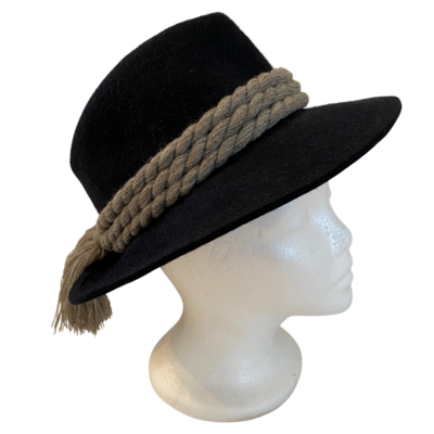 WIEN OBERWALDER Vintage Austrian Black Wool Hat with Braided Band Women's Medium