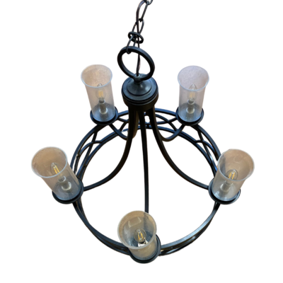 Wrought Iron Chandelier with 5 Speckled Glass Light Cylinders