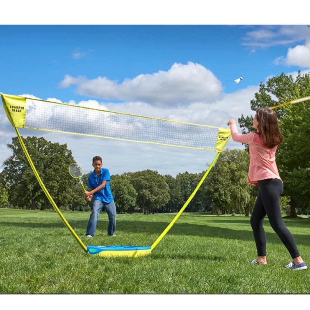 SHARPER IMAGE Portable Badminton Set with LED Birdies