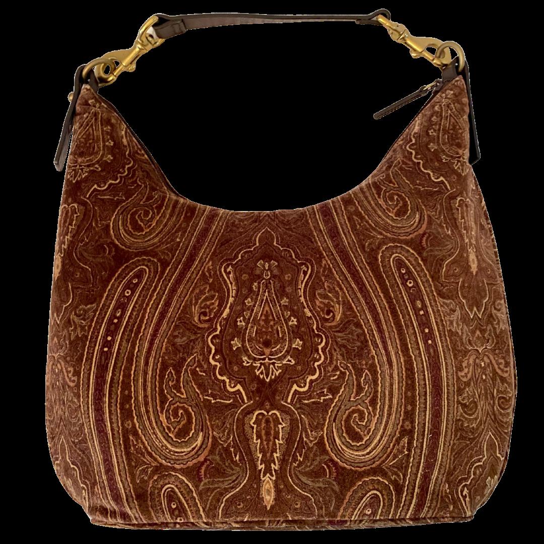 Ralph Lauren Brown Paisley Velvet Handbag with Brass and Leather Strap