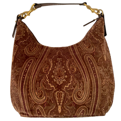 Ralph Lauren Brown Paisley Velvet Handbag with Brass and Leather Strap