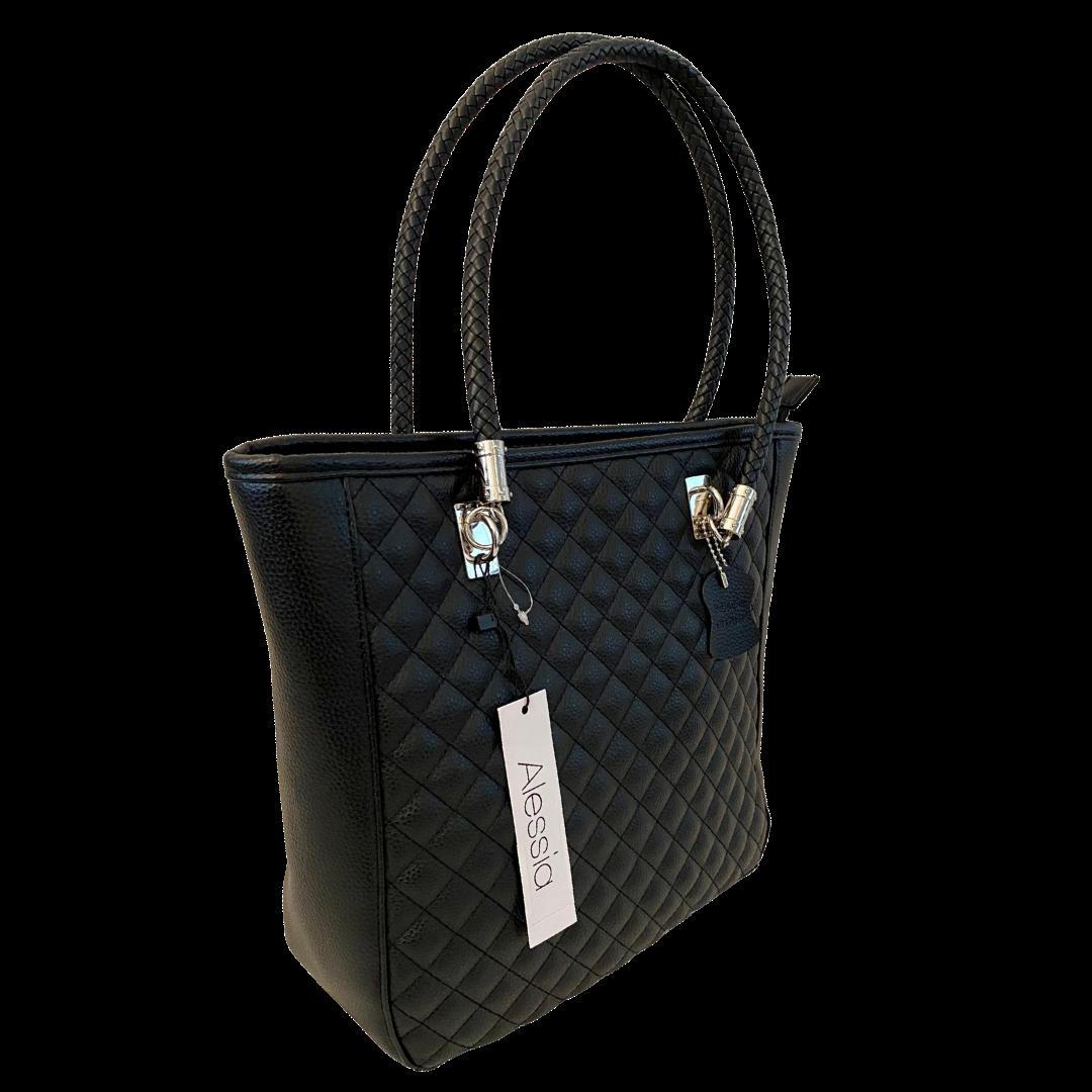 Alessia Padded Black Genuine Leather Shoulder Handbag