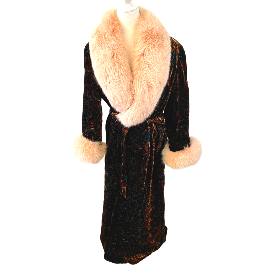 Christian Dior Le Connaisseur Velour Robe with Pink Fur Collar and Wrist Trim Women's Small