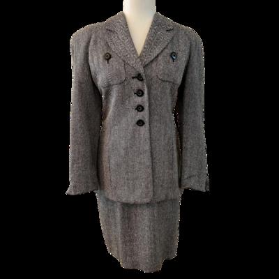 Christian Dior 100% Silk Vintage Herringbone Suit Women's 6