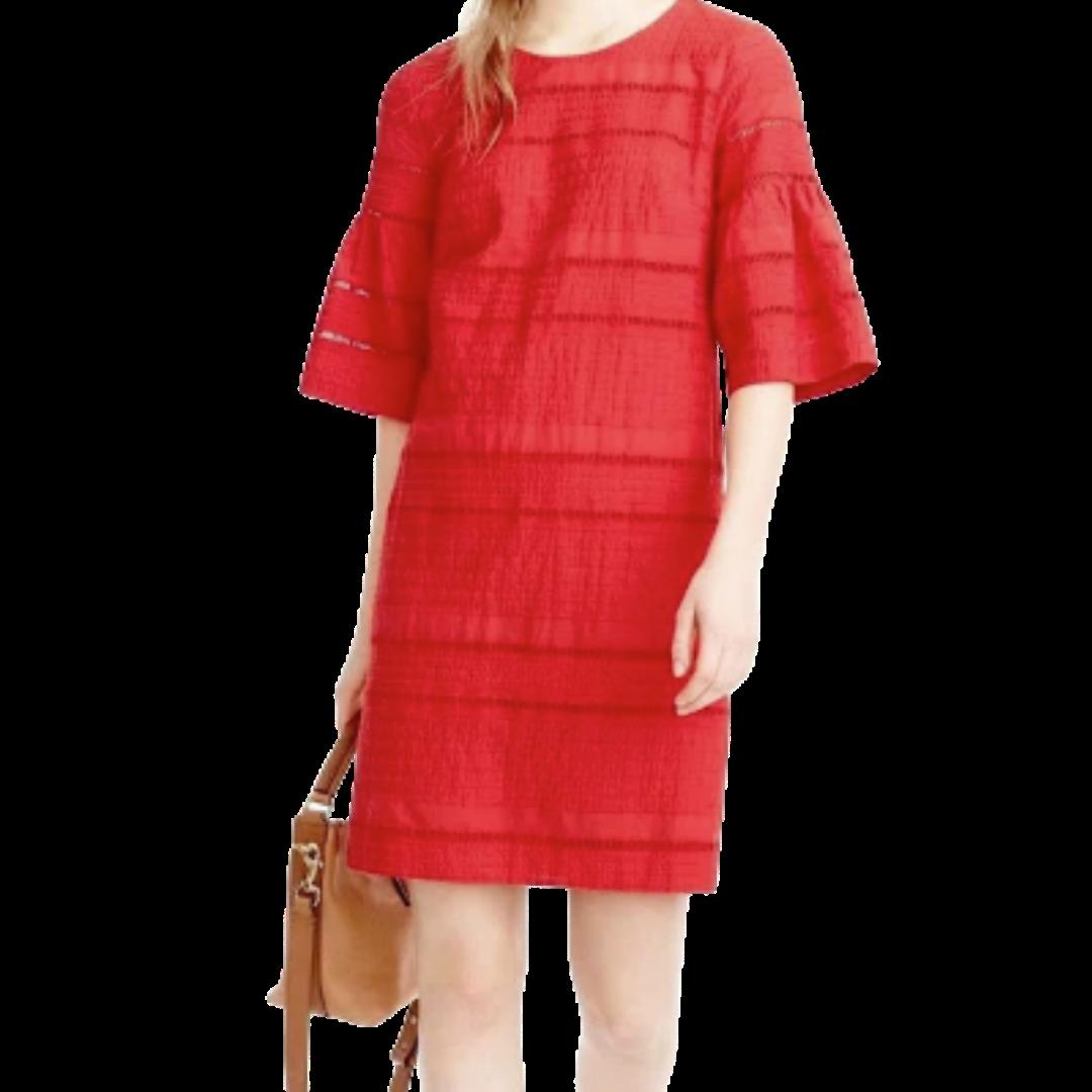 J. CREW Red Eyelet Flutter Sleeve Dress Women's 0
