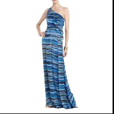 BCBG Max Azria Stella Long Flowing Halter Multicolor Dress Women's 6
