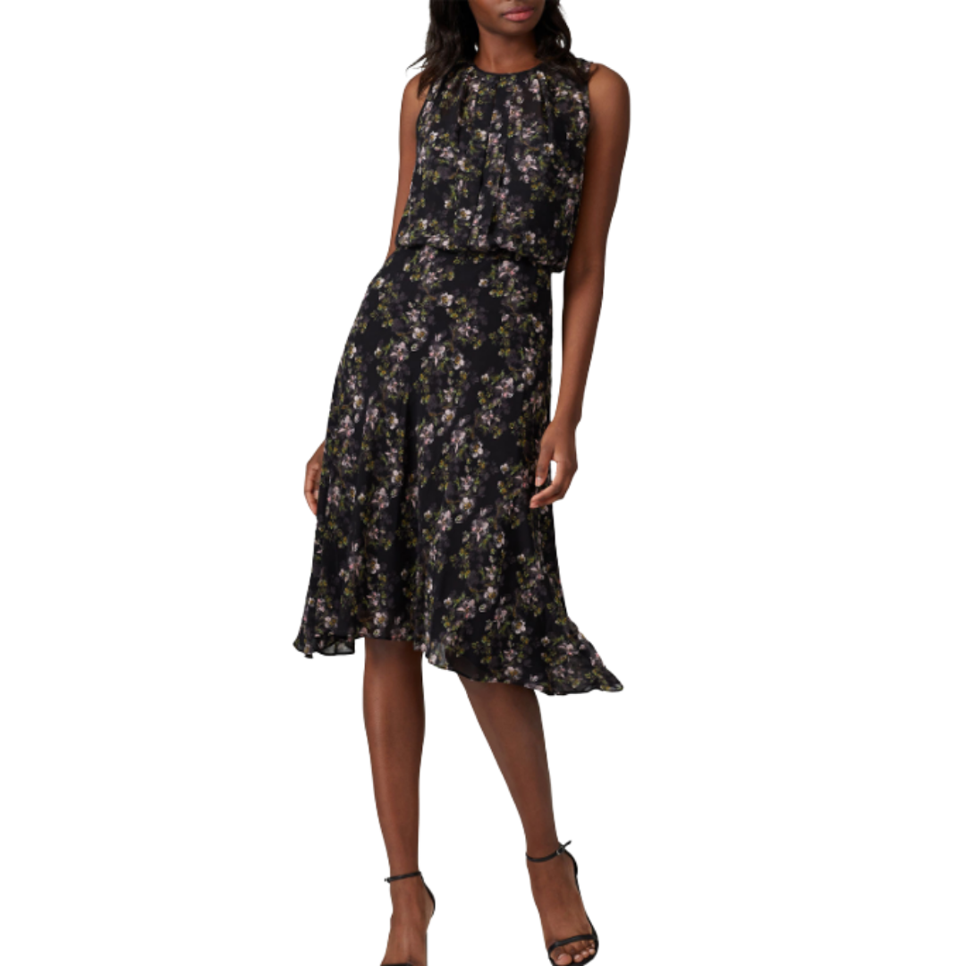 Rachel Roy Collection Black Floral Sleeveless Dress Women's Medium