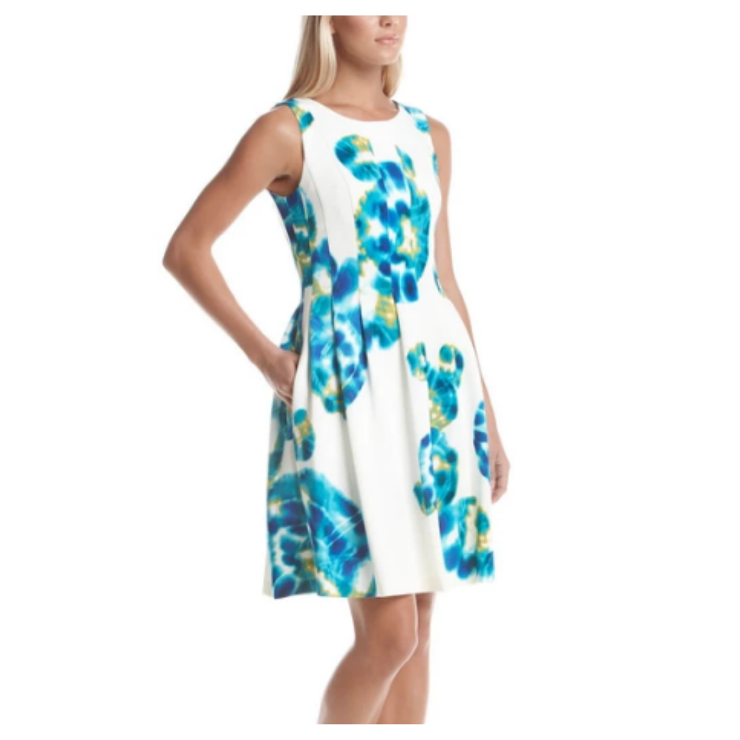 Calvin Klein Floral Sheath Scuba Lined Dress Women's 6