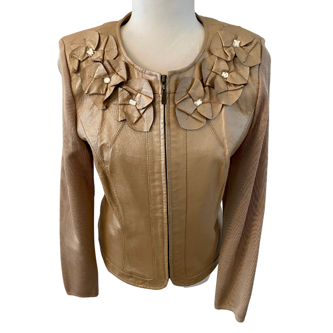Peter Nygard Genuine Leather & Knit Embellished Jacket Women's Small