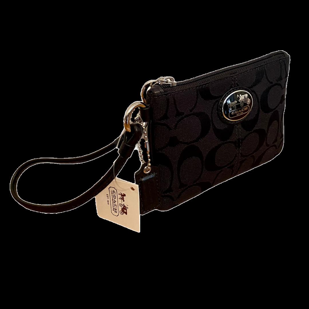 COACH Jacquard Black Signature Wristlet Wallet 43996