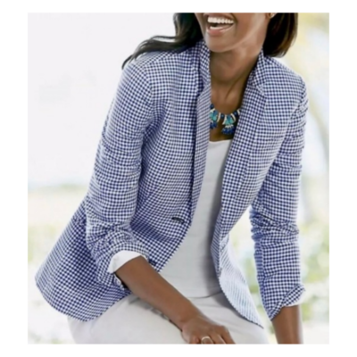 TALBOTS Petites Navy & White Gingham Linen and Cotton Lined Blazer Women's 8P