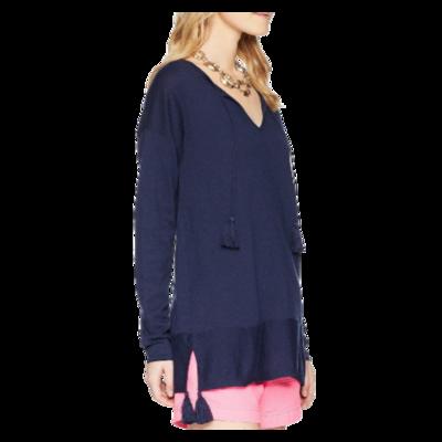 Lilly Pulitzer Colene Tassel Coolmax® Cotton Blend Navy Sweater Women's XS
