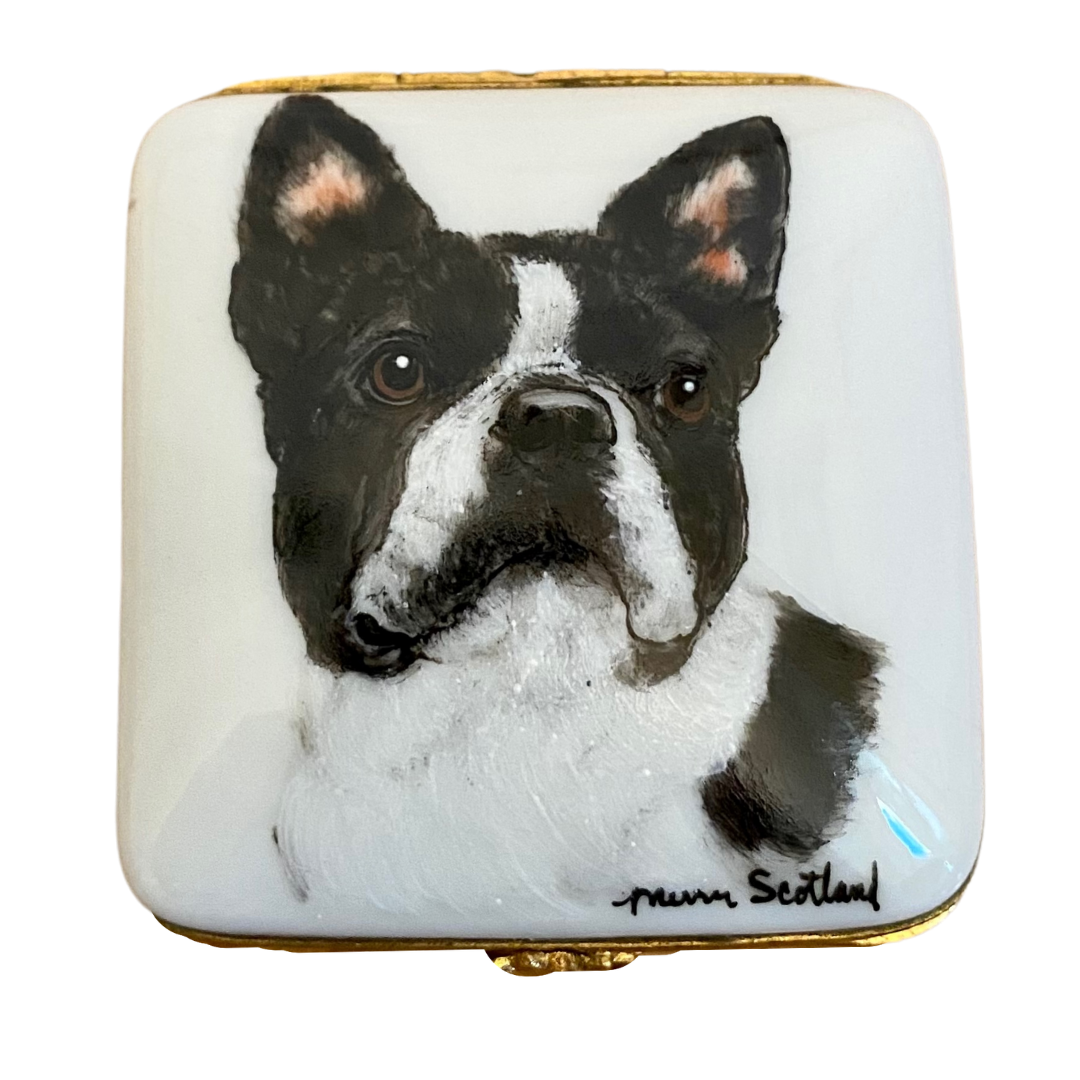 Limoges France Hand Painted Boston Terrier Pillbox Artist Signed Scotland Yard's Studio USA