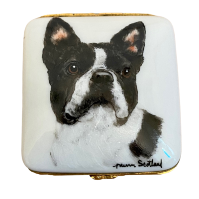 Limoges France Hand Painted Boston Terrier Pillbox Artist Signed Scotland Yard's Studio USA