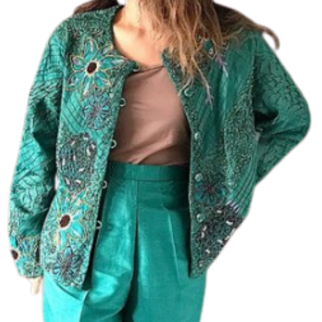 Sandy Starkman Design Silk/Rayon Multicolor Jacket Women's Large