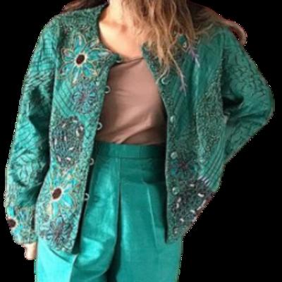 Sandy Starkman Design Silk/Rayon Multicolor Jacket Women's Large