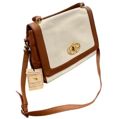 Emma Fox Leatherware White/Tan Leather Pebble Grain Turnlock Flap Purse