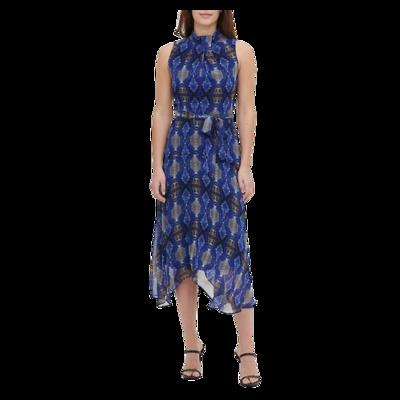 Calvin Klein Printed Twist Neck Sleeveless Handkerchief Dress Women's 2