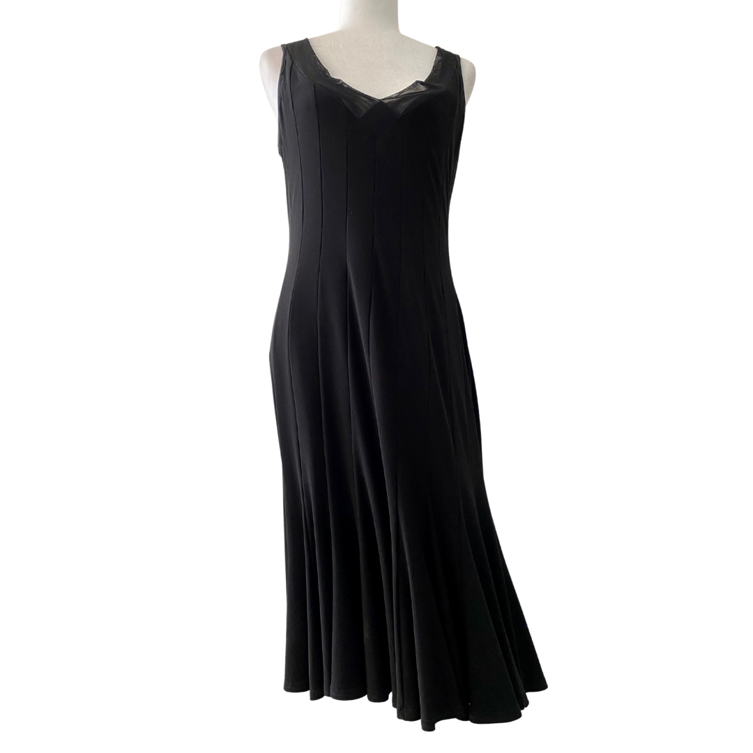 Joseph Ribkoff Sheer V-Neck Outline Fitted Polyester/Spandex Dress Women's 12