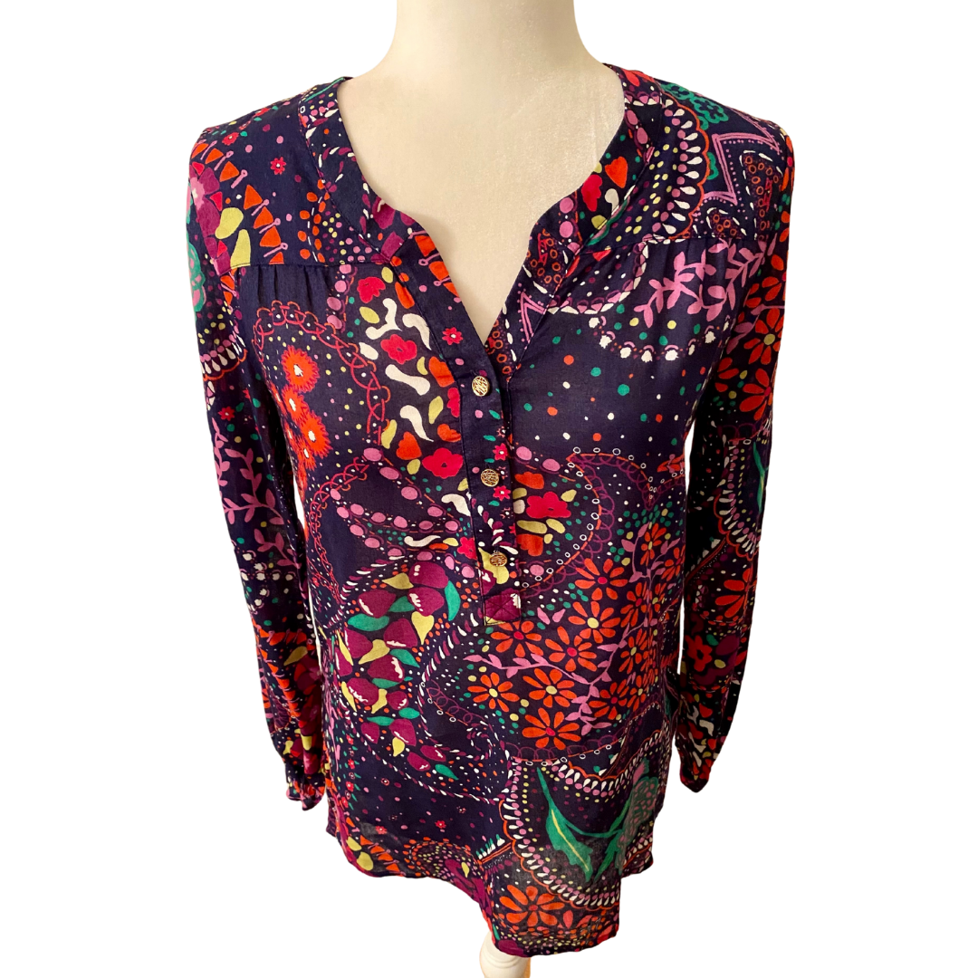 Lilly Pulitzer 100% Cotton Floral Print 3 Button Closure Top Women's Small