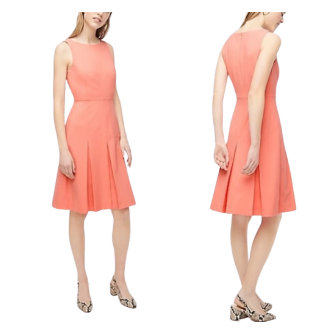 J Crew 365 Sleeveless Wool Lined Pleated Pink Dress Women's 6