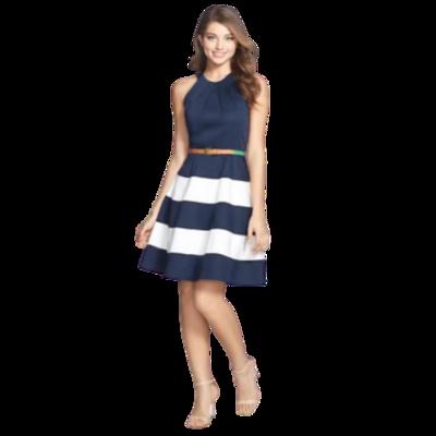 "Eliza J ""Missy"" Navy and White Striped Belted Sleeveless Dress Women's 10"